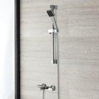 Arvo – Modern Wall Mounted Thermostatic Bath Shower Mixer Tap with Hand Shower Handset Rigid Riser Rail Kit – Chrome - Milano
