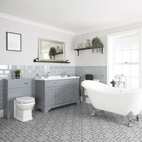 Milano Thornton - Light Grey Traditional Bathroom Suite with Freestanding Double Ended Slipper Bath and Large Chrome Claw Feet, 1210mm Vanity Unit