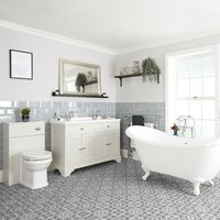 Milano Thornton - Antique White Traditional Bathroom Suite with Freestanding Double Ended Slipper Bath and White Ball Claw Feet, 1210mm Vanity Unit