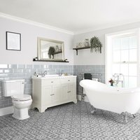 Milano Thornton - Antique White Traditional Bathroom Suite with Freestanding Double Ended Slipper Bath and Chrome Ball Claw Feet, 1210mm Vanity Unit