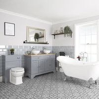 Milano Thornton - Traditional Light Grey Bathroom Suite with Freestanding Double Ended Slipper Bath and Large Chrome Claw Feet, 1210mm Vanity Unit