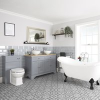 Milano Thornton - Traditional Light Grey Bathroom Suite with Freestanding Double Ended Slipper Bath and Large Black Claw Feet, 1210mm Vanity Unit