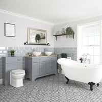 Milano Thornton - Traditional Light Grey Bathroom Suite with Freestanding Double Ended Slipper Bath and Black Ball Claw Feet, 1210mm Vanity Unit with