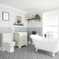 Milano Thornton - Antique White Traditional Bathroom Suite with Freestanding Double Ended Slipper Bath and White Ball Claw Feet, 630mm Vanity Unit