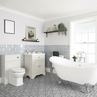 Milano Thornton - Antique White Traditional Bathroom Suite with Freestanding Double Ended Slipper Bath and Chrome Ball Claw Feet, 630mm Vanity Unit