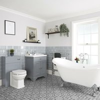 Milano Thornton - Light Grey Traditional Bathroom Suite with Freestanding Double Ended Slipper Bath and Large Chrome Claw Feet, 630mm Vanity Unit and