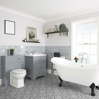 Milano Thornton - Light Grey Traditional Bathroom Suite with Freestanding Double Ended Slipper Bath and Large Black Claw Feet, 630mm Vanity Unit and