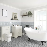 Milano Thornton - Antique White Traditional Bathroom Suite with Freestanding Double Ended Slipper Bath and Black Ball Claw Feet, 630mm Vanity Unit