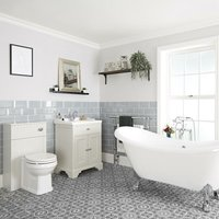 Milano Thornton - Antique White Traditional Bathroom Suite with Freestanding Double Ended Slipper Bath and Large Chrome Claw Feet, 630mm Vanity Unit