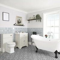 Milano Thornton - Antique White Traditional Bathroom Suite with Freestanding Double Ended Slipper Bath and Large Black Claw Feet, 630mm Vanity Unit