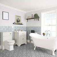 Milano Thornton - Antique White Traditional Bathroom Suite with Freestanding Double Ended Slipper Bath and Large White Claw Feet, 630mm Vanity Unit