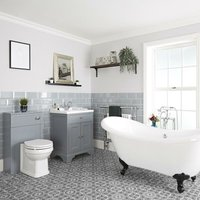 Milano Thornton - Light Grey Traditional Bathroom Suite with Freestanding Double Ended Slipper Bath and Black Ball Claw Feet, 630mm Vanity Unit and