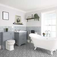 Milano Thornton - Light Grey Traditional Bathroom Suite with Freestanding Double Ended Slipper Bath and White Ball Claw Feet, 630mm Vanity Unit and