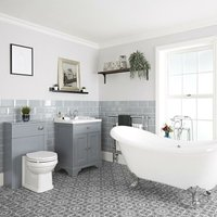 Milano Thornton - Light Grey Traditional Bathroom Suite with Freestanding Double Ended Slipper Bath and Chrome Ball Claw Feet, 630mm Vanity Unit and