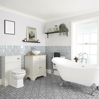 Milano Thornton - Antique White Traditional Bathroom Suite with Freestanding Double Ended Slipper Bath and Large Chrome Claw Feet, 645mm Vanity Unit