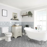 Milano Thornton - Antique White Traditional Bathroom Suite with Freestanding Double Ended Slipper Bath and Chrome Ball Claw Feet, 645mm Vanity Unit