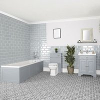 Thornton - Light Grey Traditional Bathroom Suite with Single Ended Bath, 630mm Vanity Unit and Back to Wall Toilet WC Unit - Milano