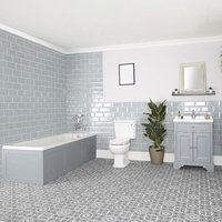 Milano Thornton - Light Grey Traditional Bathroom Suite with Single Ended Bath, 630mm Vanity Unit and Close Coupled Toilet WC