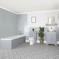 Thornton - Light Grey Traditional Bathroom Suite with Single Ended Bath, 645mm Vanity Unit with Countertop Basin and Back to Wall Toilet WC Unit