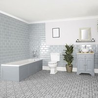 Thornton - Light Grey Traditional Bathroom Suite with Single Ended Bath, 645mm Vanity Unit with Countertop Basin and Close Coupled Toilet WC - Milano