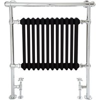 Milano Elizabeth - 930mm x 790mm Traditional Heated Towel Rail Radiator with Cast Iron Style Insert and Overhanging Rail – Chrome and Black