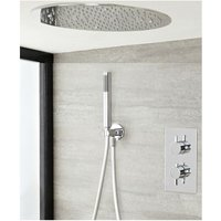 Milano Mirage - Modern 2 Outlet Twin Diverter Thermostatic Mixer Shower Valve with Ceiling Mounted 400mm Round Recessed Rainfall Shower Head and Hand