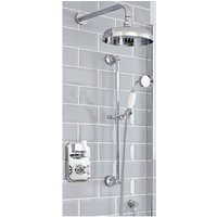 Elizabeth - Traditional 2 Outlet Twin Diverter Thermostatic Shower Valve with 205mm Round Shower Head and Riser Rail Slide Bar Kit - Chrome and White