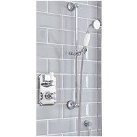 Elizabeth - Traditional Twin Thermostatic Shower Valve and Riser Rail Kit with Hand Shower Handset, Hose, Slide Bar and Outlet Elbow - Chrome and White
