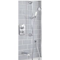 Milano Elizabeth - Traditional 2 Outlet Twin Diverter Thermostatic Shower Valve with Slide Rail Kit and Wall Mounted Bath Spout - Chrome and White