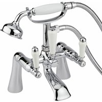 Victoria - Traditional Deck or Wall Mounted Bath Shower Mixer Tap with Hand Shower Handset – Chrome - Milano