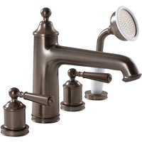 Washington - Traditional Four Tap Hole Bath Shower Mixer Tap with Hand Shower Handset - Oil Rubbed Bronze - Milano