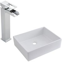 Milano Westby - Modern White Ceramic 490mm x 390mm Rectangular Countertop Bathroom Basin Sink and High Rise Waterfall Mono Basin Mixer Tap