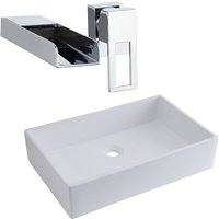 Milano Westby - Modern White Ceramic 610mm x 400mm Rectangular Countertop Bathroom Basin Sink and Wall Mounted Waterfall Basin Mixer Tap