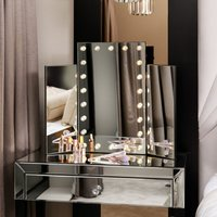 Millie Makeup Illuminated Tri-Fold Mirror with LED Lights Hollywood Style Cosmetic Vanity Perfect For Dressing Table (Black)