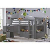 Bedmaster - Milo Sleep Station Desk Storage Kids Bed Grey With Memory Foam Mattress