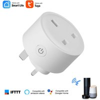 Asupermall - Mini Smart WiFi Socket UK Remote Control by Smart Phone Tuya APP from Anywhere Timing Function, Voice Control Compatible with Amazon