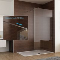 CD 800 mm Shower Enclosure 8mm Easy Clean Nano Glass Wet Room Screen Walk in Adjustable Support Bar Panel 1950 mm Height - Miqu