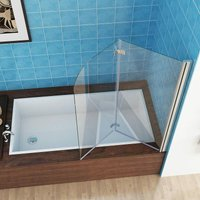 Shower Screen 2 Fold Folding Bath Screen 180° Hinge Door Panel 6mm Easy Clean Glass (900x1400mm) - Miqu