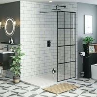 8mm black framed wet room glass panel with walk in shower tray 1600 x 800 and twin valve matt black shower set - Mode