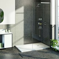 8mm walk in right handed shower enclosure bundle with white slate effect shower tray 1400 x 900 - Mode
