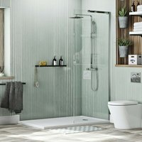 Mode 8mm walk in shower enclosure pack with thermostatic shower system 1600 x 800