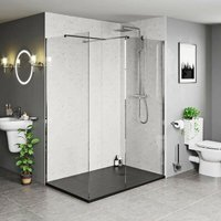 Burton 8mm walk in shower enclosure pack with black stone tray 1600 x 800 - Mode