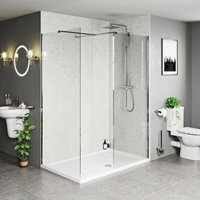 Burton 8mm walk in shower enclosure pack with stone tray 1600 x 800 - Mode