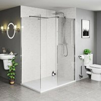Burton 8mm walk in shower enclosure pack with white stone tray 1600 x 800 - Mode