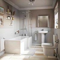 Burton bathroom suite with left handed L shaped shower bath 1700 x 850 - Mode