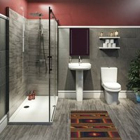 Burton complete bathroom suite with enclosure, tray, shower and taps 1700 x 800 - Mode
