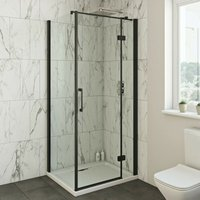 Cooper 8mm black hinged shower enclosure 1000 x 800 - Mode