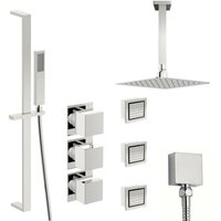Mode Cooper thermostatic shower valve with complete ceiling shower set 250mm