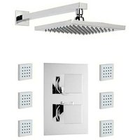 Ellis thermostatic twin shower valve with body jets and shower head set 300mm shower head - Mode