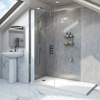 Hale 8mm low iron glass wet room glass screen with walk-in shower tray 1400 x 900 - Mode